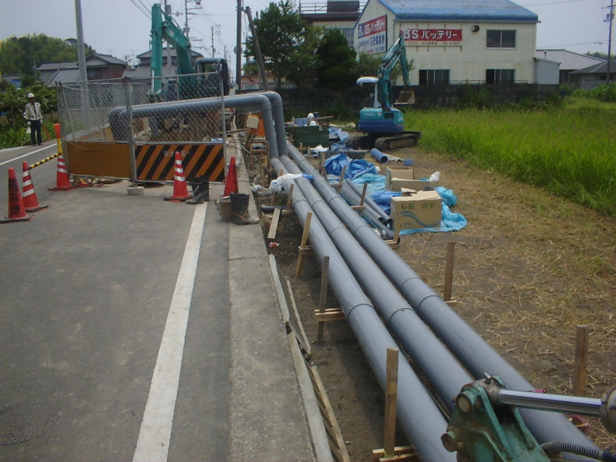 地下水排水用の仮設配管