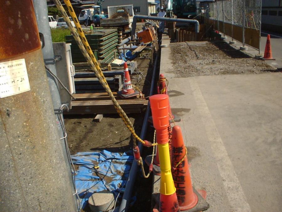 汚水原水バイパス用配管設置
